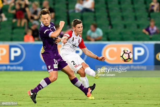 Shannon Cole of the Wanderers kicks during the round 21 ALeague match between the Perth Glory and Western Sydney Wanderers at nib Stadium on February...