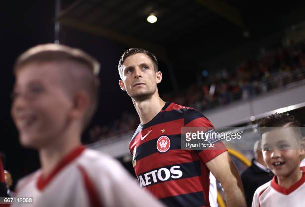 Shannon Cole of the Wanderers walks onto the pitch during the AFC Champions League match between the Western Sydney Wanderers and FC Seoul at...