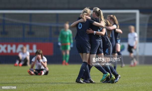 Shannon Cooke Esme Beth Morgan and Esme Beth Morgan of England celebrate after the England v Germany U17 Girl's Elite Round match on March 27 2017 in...