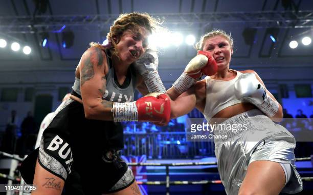 Shannon Courtenay exchanges punches with Buchra El Quaissi during the Bantamweight between Shannon Courtenay and Buchra El Quaissi at York Hall on...