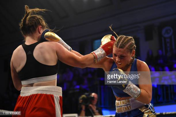 Shannon Courtenay punches Valerija Sepetovska during the SuperBantamweight fight between Shannon Courtenay and Valerija Sepetovska at York Hall on...