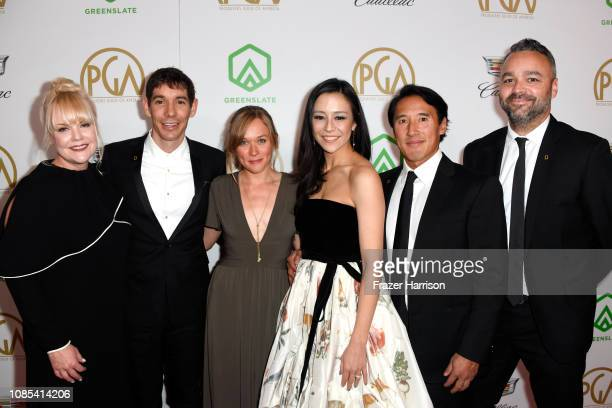 Shannon Dill Alex Honnold Sanni McCandless Elizabeth Chai Vasarhelyi Jimmy Chin and Evan Hayes attend the 30th annual Producers Guild Awards at The...