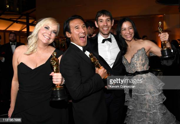 Shannon Dill Jimmy Chin Alex Honnold and Elizabeth Chai Vasarhelyi winners of the Documentary award for 'Free Solo' attend the 91st Annual Academy...