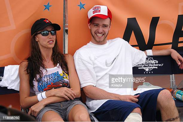 Shannon Elizabeth and Justin Timberlake during *NSYNC's Challenge for the Children V Celebrity Skills Challenge at Collins Park in Miami Beach...