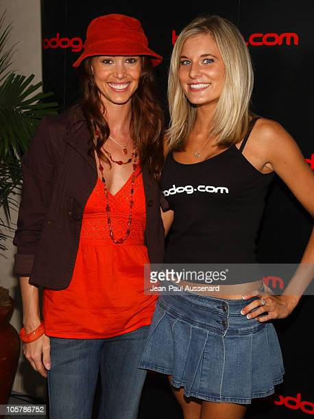 Shannon Elizabeth and Lindsay Bedell at bodog.com during bodog.com at The Silver Spoon Pre-Emmy Hollywood Buffet - Day 1 at Private residence in...