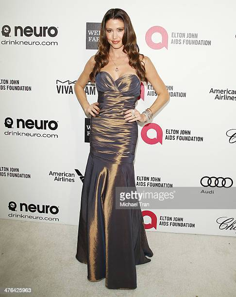 Shannon Elizabeth arrives at the 22nd Annual Elton John AIDS Foundation's Oscar viewing party held on March 2, 2014 in West Hollywood, California.
