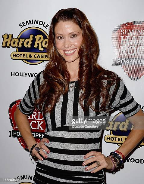Shannon Elizabeth plays at the Seminole Hard Rock Poker Open $10 Million Guarantee Main Event at Seminole Hard Rock Hotel And Casino on August 22...