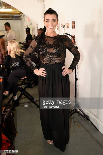 Shannon Elizabeth poses backstage during New York Fashion Week Powered by Art Hearts Fashion NYFW September 2019 at The Angel Orensanz Foundation on...