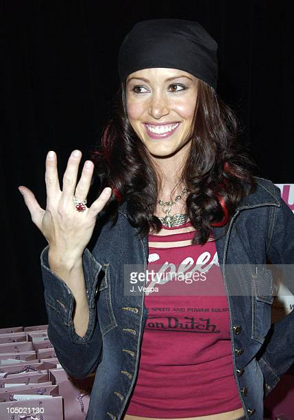 Shannon Elizabeth with Erica Courtney ring during 2002 Billboard Music Awards Backstage Creations Talent Retreat Show Day at MGM Grand Hotel in Las...