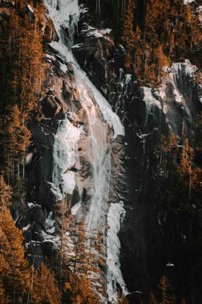 Shannon Falls partially frozen at sunset