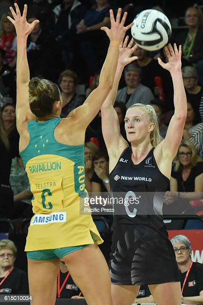 Shannon Francois of New Zealand and Kim Ravaillion of Australia completes for the ball during the third test of the Constellation Cup International...