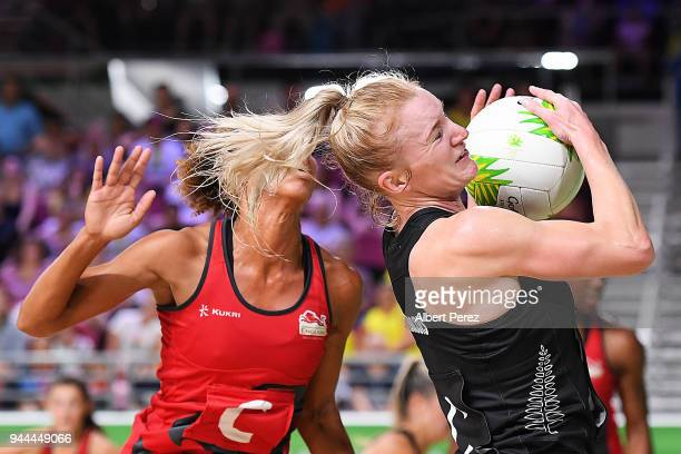 Shannon Francois of New Zealand competes for the ball during the Netball match between New Zealand and England on day seven of the Gold Coast 2018...