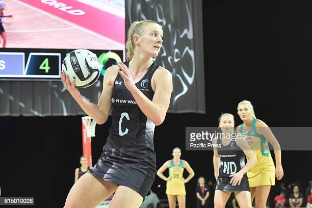 Shannon Francois takes a pass during the third test of the Constellation Cup International netball Test match between the Australia Diamonds and the...