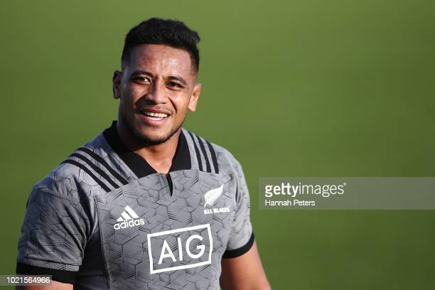 Shannon Frizell looks on during a New Zealand All Blacks training session on August 23 2018 in Auckland New Zealand