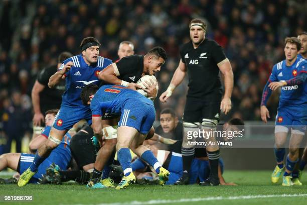 Shannon Frizell of the All Blacks charges to the line to score a try during the International Test match between the New Zealand All Blacks and...
