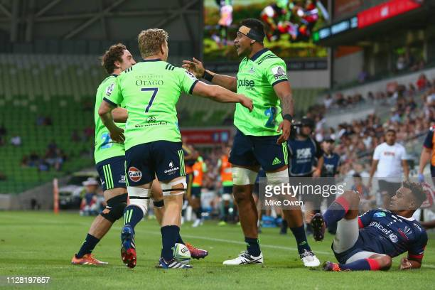 Shannon Frizell of the Highlanders celebrates after scoring a try during the round three Super Rugby match between the Rebels and the Highlanders at...