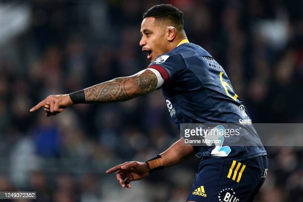 Shannon Frizell of the Highlanders reacts during the Super Rugby match between the Highlanders and Chiefs on June 13, 2020 in Dunedin, New Zealand.