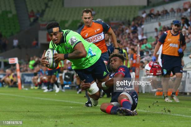 Shannon Frizell of the Highlanders scores a try during the round three Super Rugby match between the Rebels and the Highlanders at AAMI Park on March...