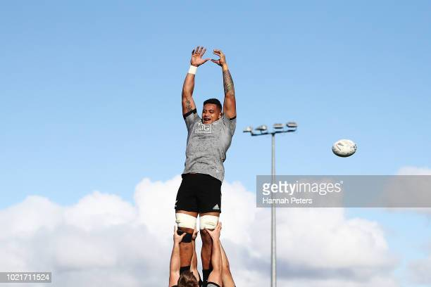 Shannon Frizell runs through lineout drills during a New Zealand All Blacks training session on August 23 2018 in Auckland New Zealand