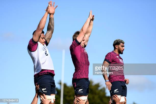 Shannon Frizell Sam Cane and Hoskins Sotutu run through drills during a New Zealand All Blacks training session at Rugby park on September 22 2020 in...