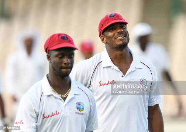 Shannon Gabriel and Kemar Roach of West Indies at the end of day 4 of the 2nd Test between West Indies and Sri Lanka at Daren Sammy Cricket Ground...