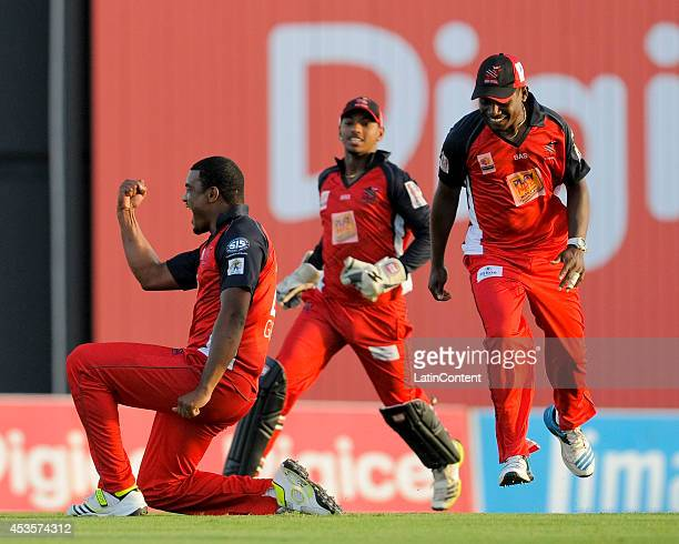 Shannon Gabriel of The Trinidad and Tobago Red Steel celebrates the dismissal of Chris Gayle of Jamaica Tallawahs during a Semifinal match between...