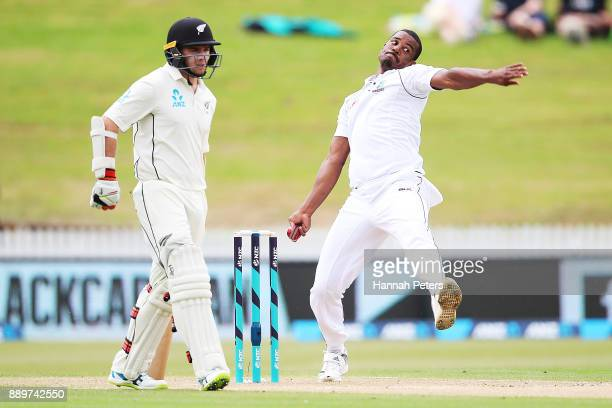 Shannon Gabriel of the West Indies bowls during day three of the Second Test Match between New Zealand and the West Indies at Seddon Park on December...