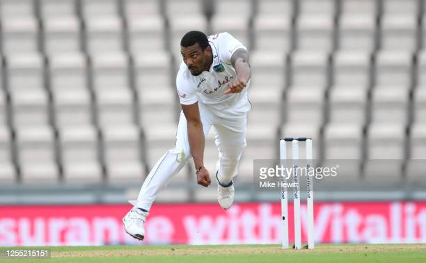 Shannon Gabriel of the West Indies bowls during day two of the 1st #RaiseTheBat Test match at The Ageas Bowl on July 09 2020 in Southampton England