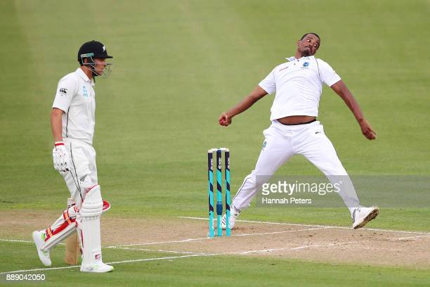 Shannon Gabriel of the West Indies bowls during day two of the Second Test Match between New Zealand and the West Indies at Seddon Park on December...
