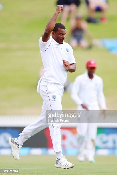 Shannon Gabriel of the West Indies celebrates after claiming the wicket of Tom Blundell of New Zealand during day three of the Second Test Match...