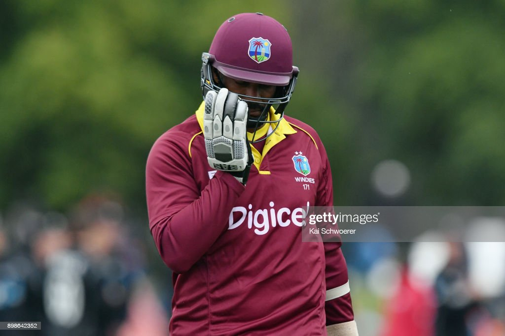 Shannon Gabriel of the West Indies looks dejected after the loss in the One Day International match during the series between New Zealand and the West Indies at Hagley Oval on December 26, 2017 in Christchurch, New Zealand.