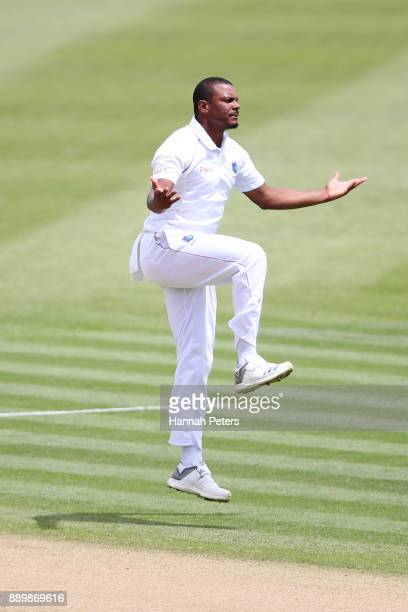 Shannon Gabriel of the West Indies reacts after a dropped catch during day three of the Second Test Match between New Zealand and the West Indies at...