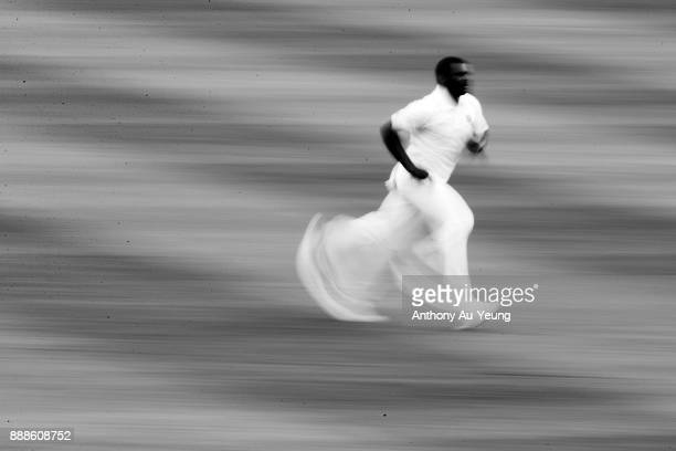 Shannon Gabriel of the West Indies runs up to bowl during day one of the second Test match between New Zealand and the West Indies at Seddon Park on...
