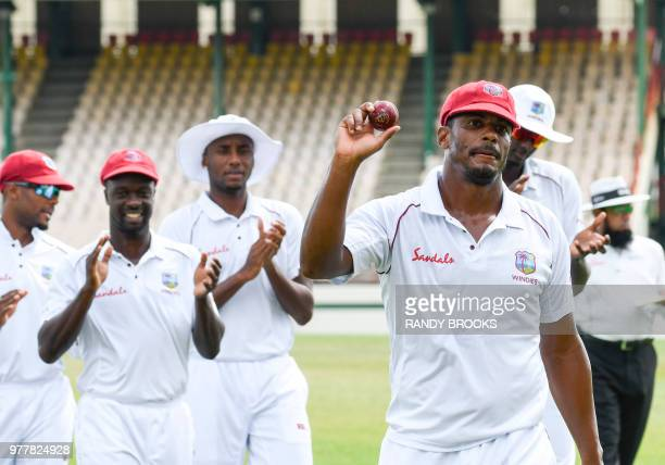 Shannon Gabriel of West Indies celebrates taking 8 wickets for 62 runs during day 5 of the 2nd Test between West Indies and Sri Lanka at Daren Sammy...