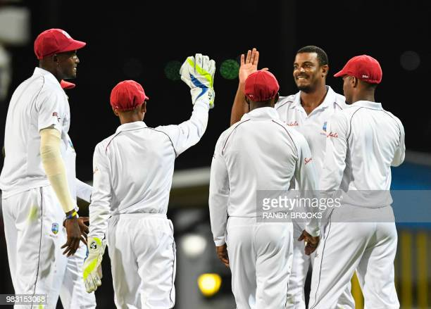 Shannon Gabriel of West Indies celebrates the dismissal of Kusal Mendis of Sri Lanka during day 2 of the 3rd Test between West Indies and Sri Lanka...