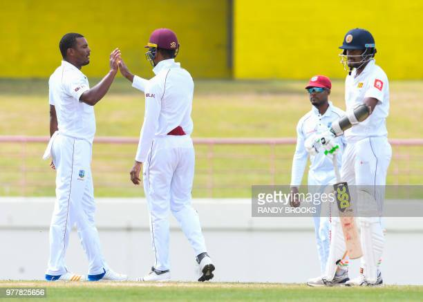 Shannon Gabriel of West Indies celebrates the dismissal of Suranga Lakmal of Sri Lanka during day 5 of the 2nd Test between West Indies and Sri Lanka...