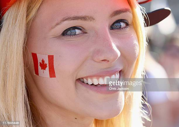 Shannon Goodman waits for Prince William Duke of Cambridge and Catherine Duchess of Cambridge to arrive at Parliament Hill for Canada Day...