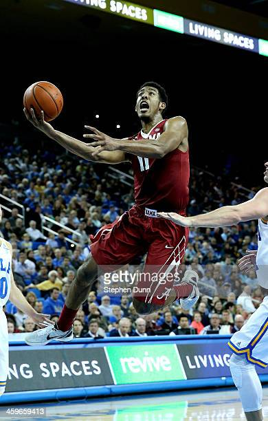 Shannon Hale of the Alabama Crimson Tide goes up for a shot against the UCLA Bruins at Pauley Pavilion on December 28, 2013 in Los Angeles,...