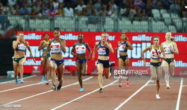 Shannon Hilton of Great Britain and Northern Ireland compete in the 4 x 100m Relay Women during Athletics World Cup London 2018 at London Stadium,...