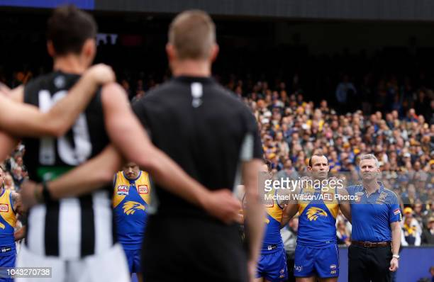 Shannon Hurn of the Eagles and Adam Simpson Senior Coach of the Eagles look on during the 2018 Toyota AFL Grand Final match between the West Coast...