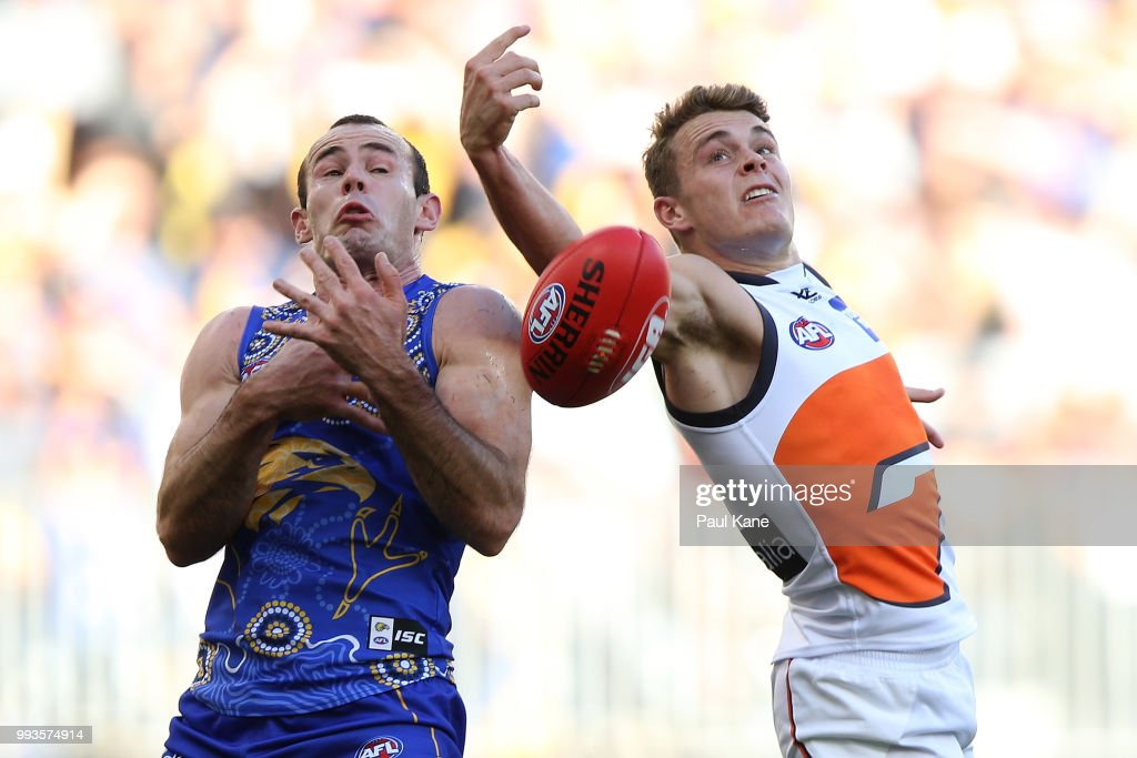 Shannon Hurn of the Eagles and Zac Langdon of the Giants contest for a mark during the round 16 AFL match between the West Coast Eagles and the Greater Western Sydney Giants at Optus Stadium on July 8, 2018 in Perth, Australia.