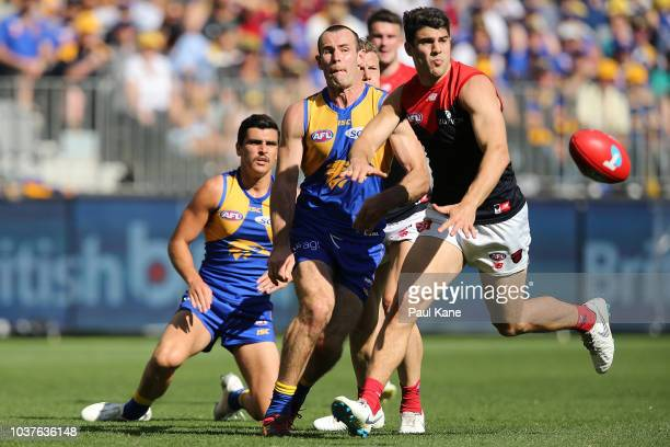 Shannon Hurn of the Eagles gets his kick away during the AFL Preliminary Final match between the West Coast Eagles and the Melbourne Demons on...