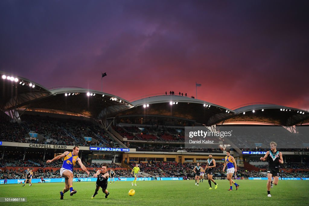 Shannon Hurn of the Eagles kicks the ball during the round 21 AFL match between the Port Adelaide Power and the West Coast Eagles at Adelaide Oval on August 11, 2018 in Adelaide, Australia.