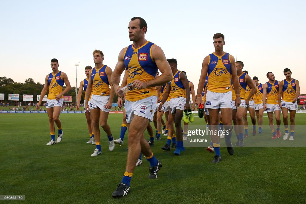 Shannon Hurn of the Eagles leads his team from the field after being defeated during the JLT Community Series AFL match between the Fremantle Dockers and the West Coast Eagles at HBF Arena on March 11, 2018 in Perth, Australia.