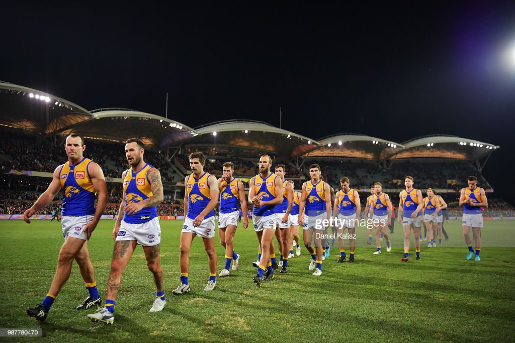 Shannon Hurn of the Eagles leads his team from the field after the round 15 AFL match between the Adelaide Crows and the West Coast Eagles at Adelaide Oval on June 30, 2018 in Adelaide, Australia.