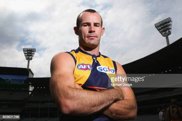 Shannon Hurn of the West Coast Eagles poses during AFL Captains Day at Melbourne Cricket Ground on March 16 2017 in Melbourne Australia