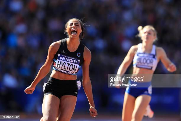 Shannon Hylton celebrates winning the women's 200m final during the British Athletics World Championships Team Trials at Birmingham Alexander Stadium...