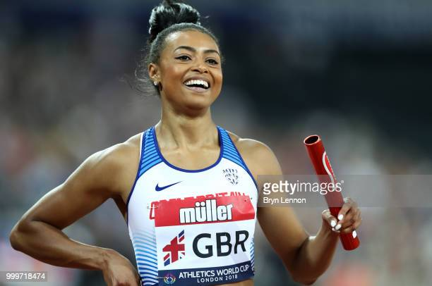 Shannon Hylton of Great Britain celebrates after winning the Women's 4x100m Relay during the Women's 4x100m Relay during day two of the Athletics...