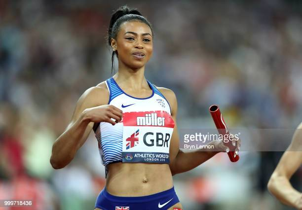 Shannon Hylton of Great Britain crosses the line to win the Women's 4x100m Relay during the Women's 4x100m Relay during day two of the Athletics...