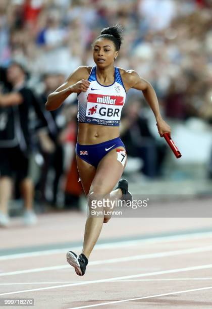 Shannon Hylton of Great Britain in action during the Women's 4x100m Relay during day two of the Athletics World Cup London at the London Stadium on...